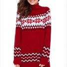 Size L Red Winter new high-collar Christmas snowflake long sleeve large size women's sweater