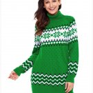 Size S Green Winter new high-collar Christmas snowflake long sleeve large size women's sweater