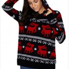 Size M Winter new large size sweater hooded long-sleeved women's Christmas sweater