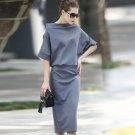 Size M Grey Slim bat sleeves a word collar knit package hip Elegant dress