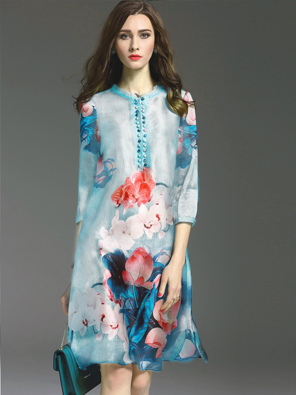 Size XXL Stylish retro printed dress loose thin large size women elegant dress