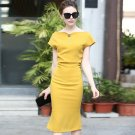 Size L Yellow 2018 spring summer women's commuter OL short-sleeved fish tail Slim package hip dress