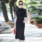 Size XL Lace stitching dress thin autumn 2018 fashion long section OL step dress