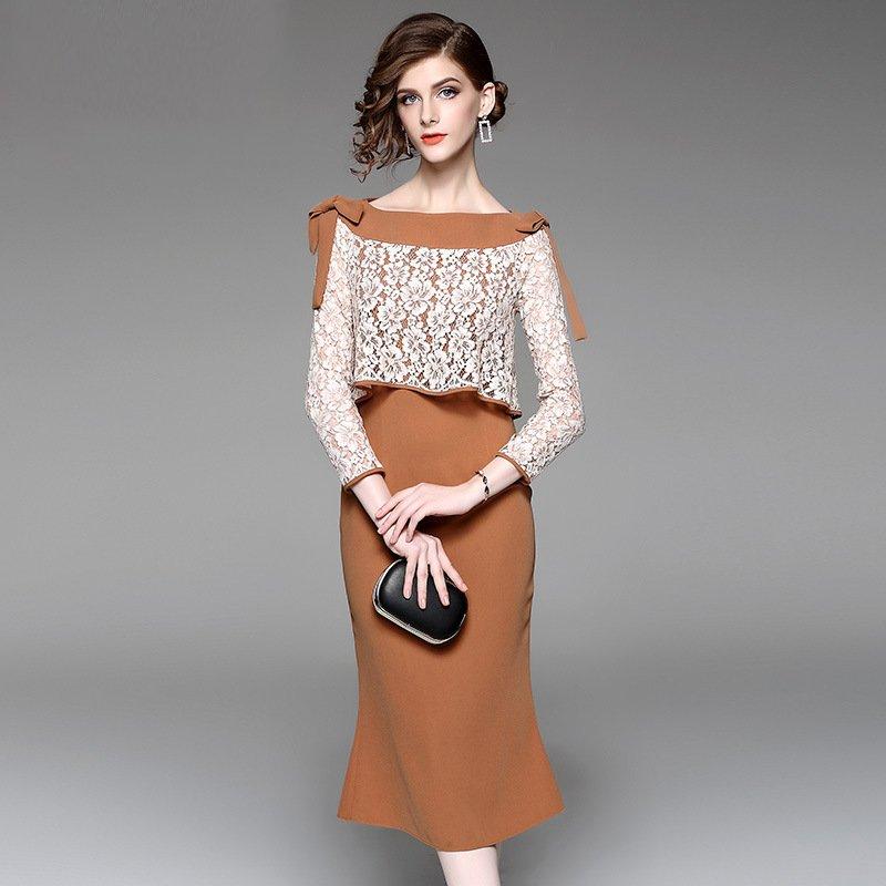Size XL Autumn new ladies long-sleeved dress lace wrap fishtail skirt Slim long Dress