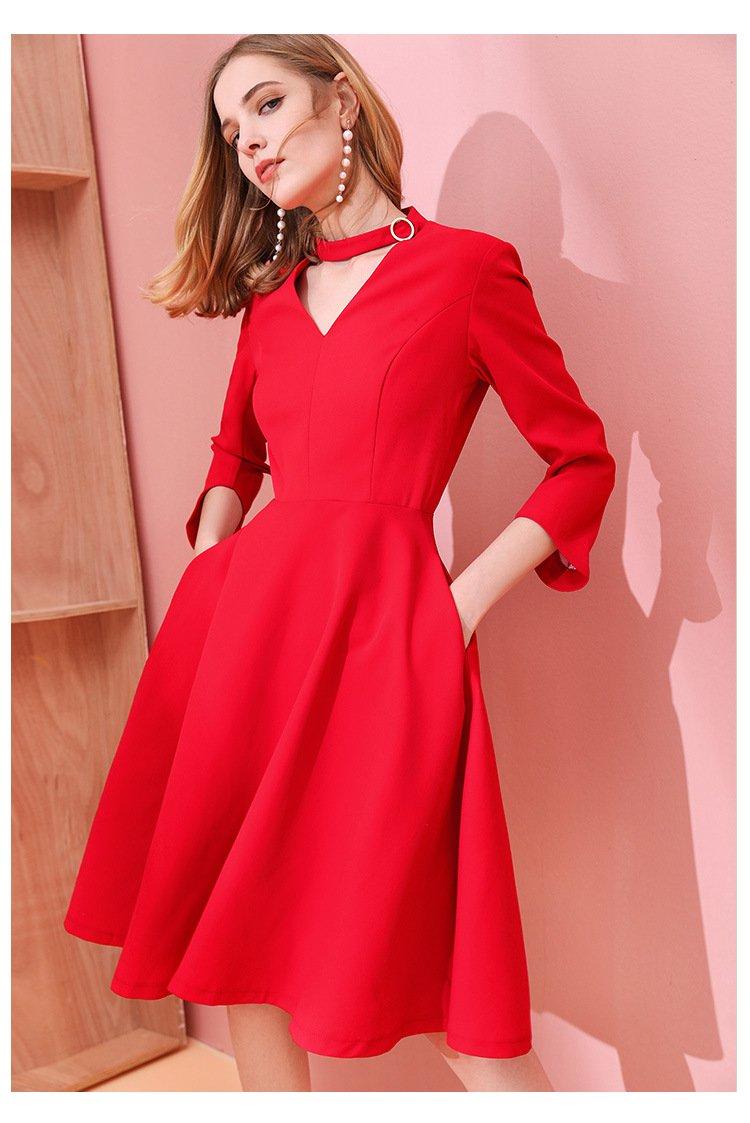Size S Red women's waist thin dress hollow V-neck black long dress