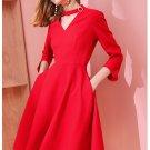 Size XL Red women's waist thin dress hollow V-neck black long dress