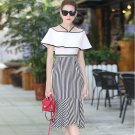 Size M White Patchwork Slash Neck Stripe Women Dress Ruffle