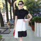 Size S Black White Irregular Women Party Design Dress