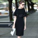 Size M Black OL Lace Patchwork Women Off Shoulder Street Dress
