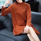 Size M Brown Women Knitted Fashion Dress