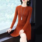 Size L Brown Women Knitted Dress Sweater