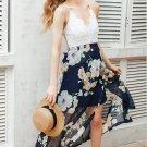 Size M White Lace Chiffon Patchwork V-neck Dress DM1001