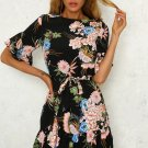 Size M Black Tie Floral Ruffle Maxi Dress DM1006