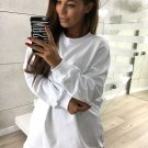 Size M White Pullover Women Sweatshirt DM1011