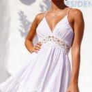 Size M White V-neck Floral Mini Sexy Dress DM1024