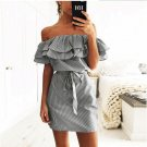 Size M Black Women Mini Stripe Dress DM1069