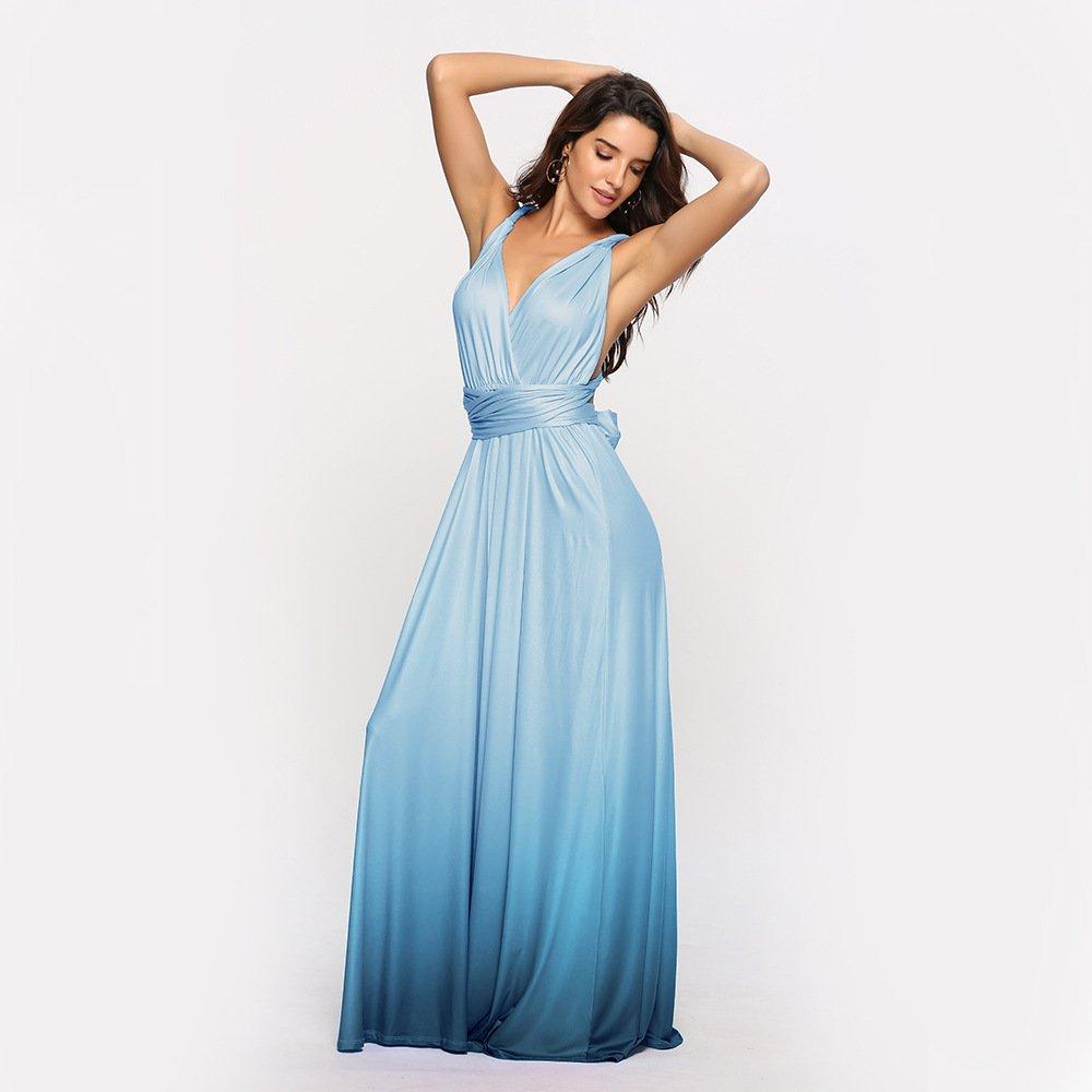 Size L Blue Gradient Sexy Cross Bandage Evening Dress DM1077