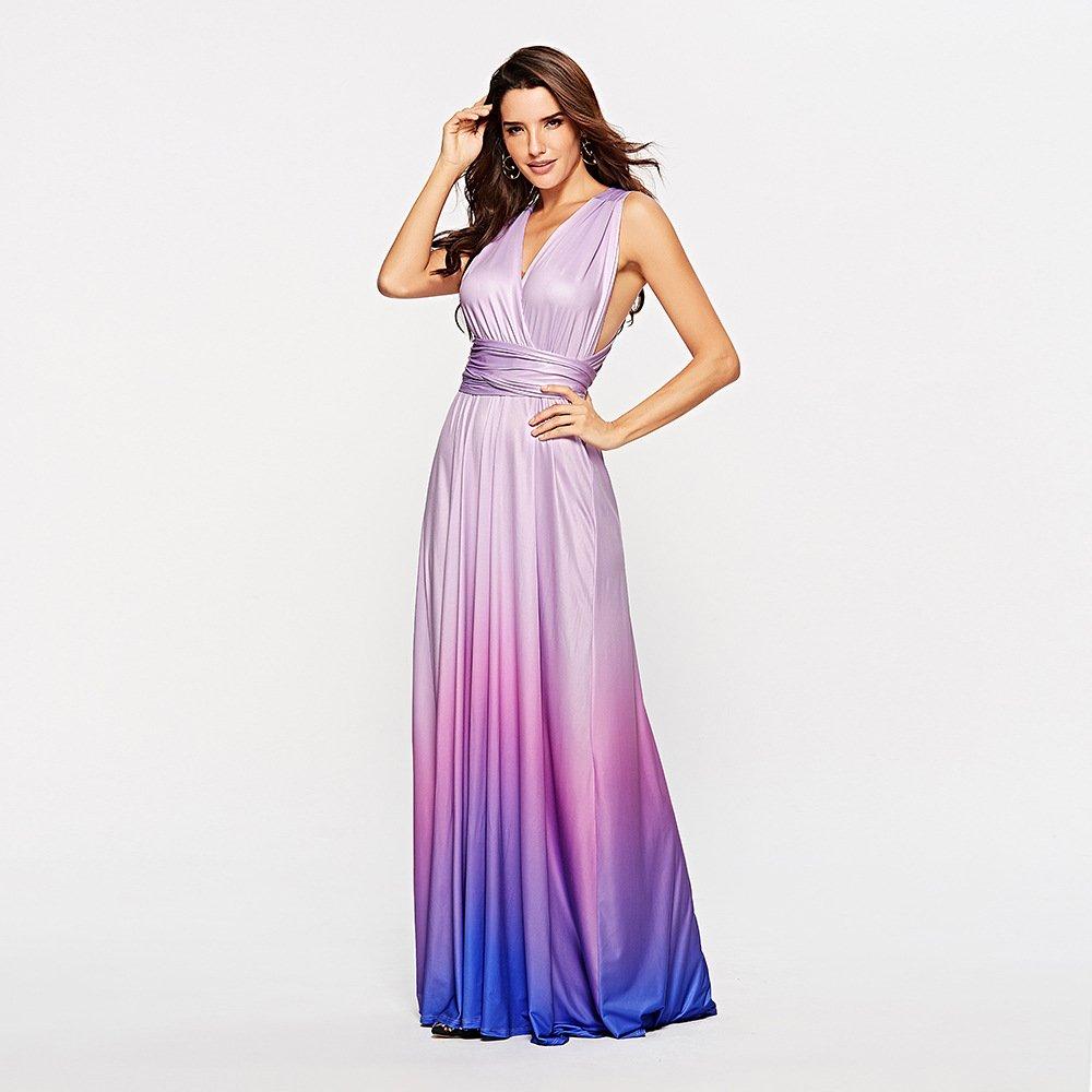 Size S Purple Gradient Sexy Cross Bandage Evening Dress DM1077