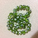 30+ GREEN Evil Eye Beads 8mm - GLASS Nazar Beads - Turkish-Style - FREE SHIP