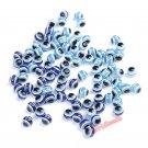 Free Shipping 100pcs Royal Sky Blue Acrylic Kabbalah Evil Eye Ball Round Beads