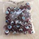 50 PURPLE Evil Eye Beads 10mm - GLASS Nazar Beads - Turkish Style INDIAN PERSIAN