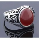 LUX SPECIAL DESIGN 925 Sterling Silver Handmade RED AGATE STONE Men Ring