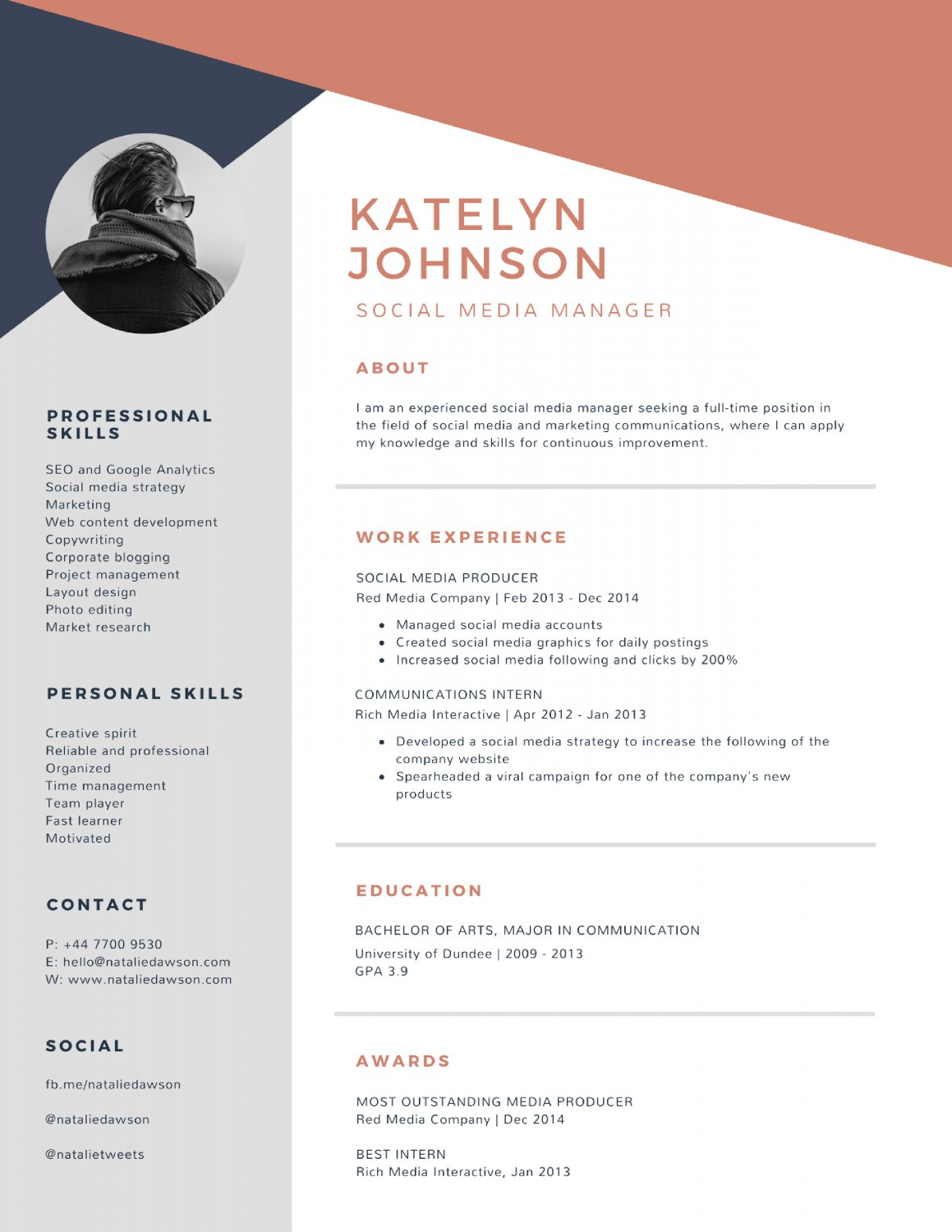 Resume Template For Word 2 Page Resume Creative Cv Template