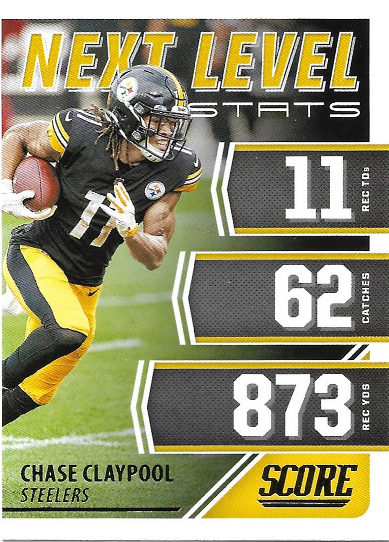 Chase Claypool 2021 Score Next Level Stats #NL24 Pittsburgh Steelers Football Card