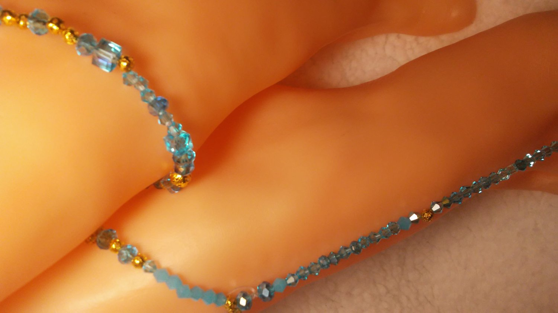 Brazil's Icon Blue Toe Ring Bicone Anklet