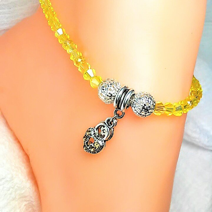 Yellow Heart Charm Bicone Anklet