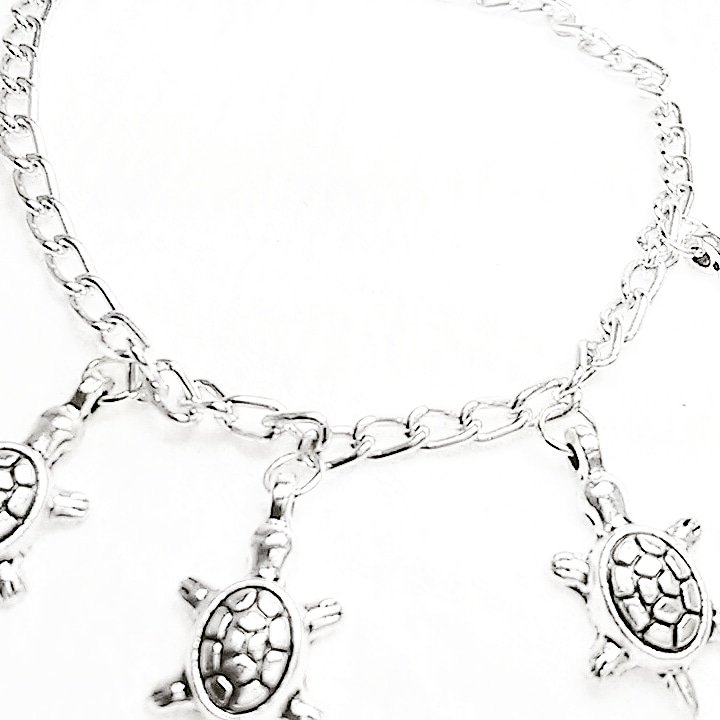 Kids Silver Turtle Charm Bracelet