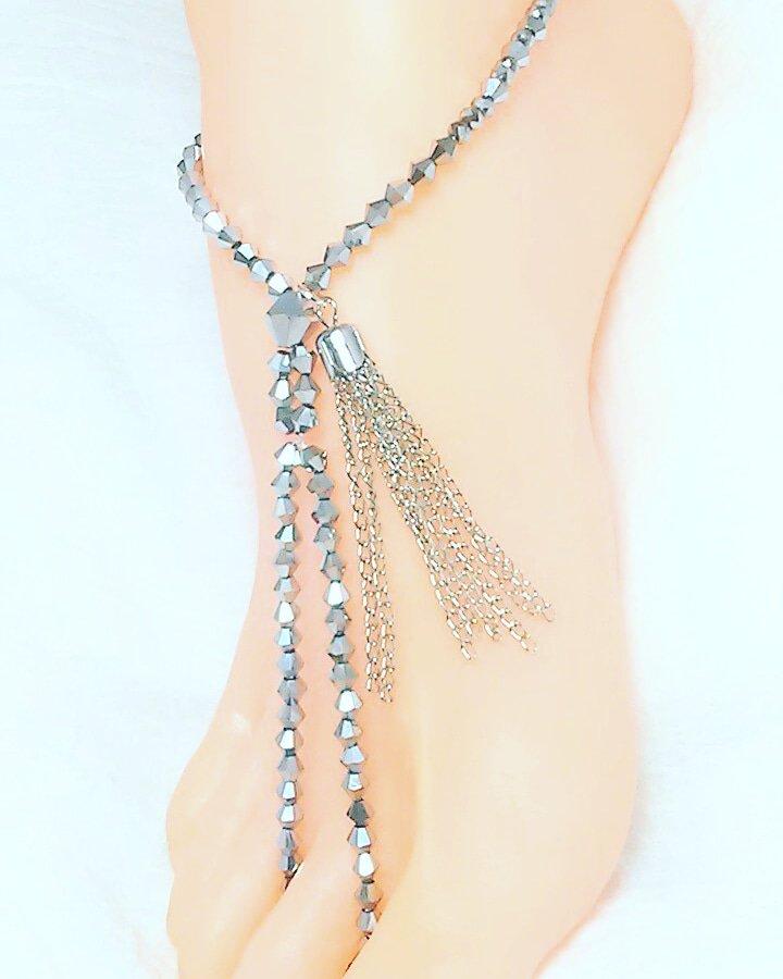 Gladiator Silver Thong Barefoot Sandal Toe Ring Anklet