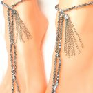 Gladiator Silver Barefoot Sandal Toe Ring Anklet Set