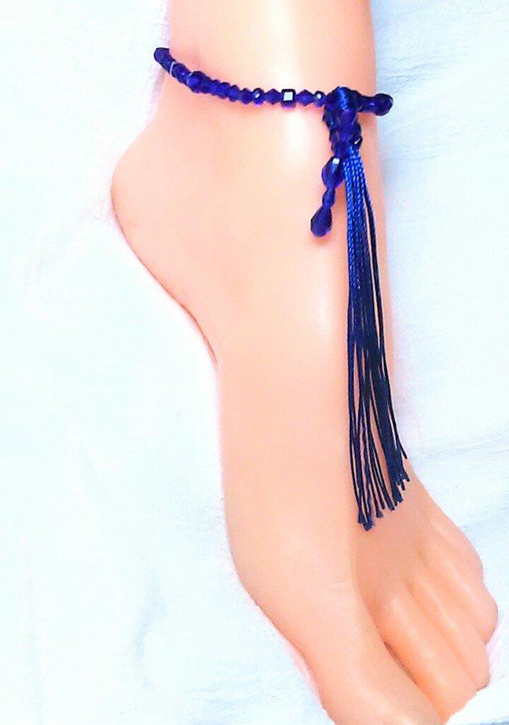Royal Blue Tassel Anklet