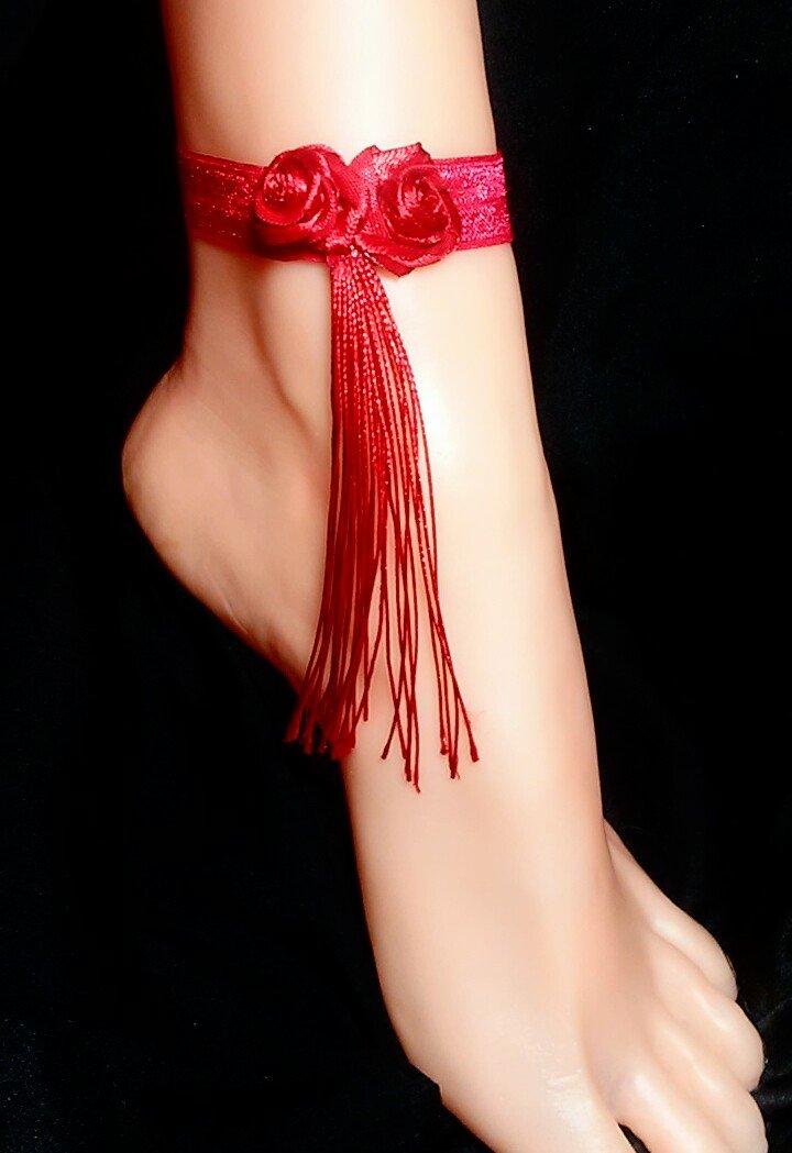 Red Rose Tassel Anklet Set of 2