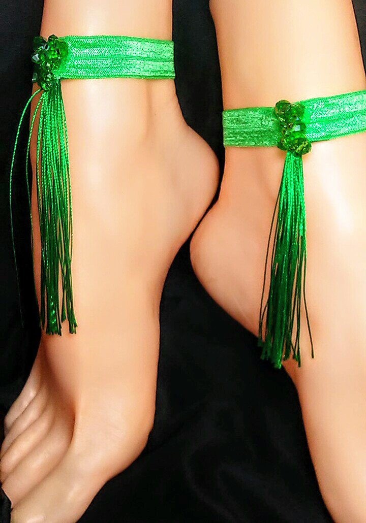 Green Envy Tassel Anklet Set