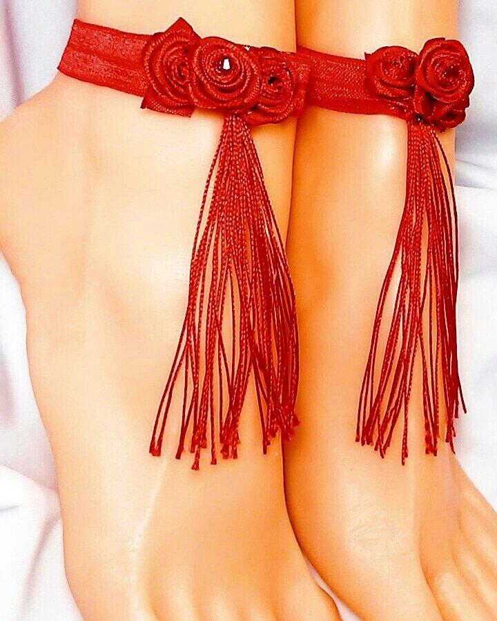 Rose Red Anklets Set of 2