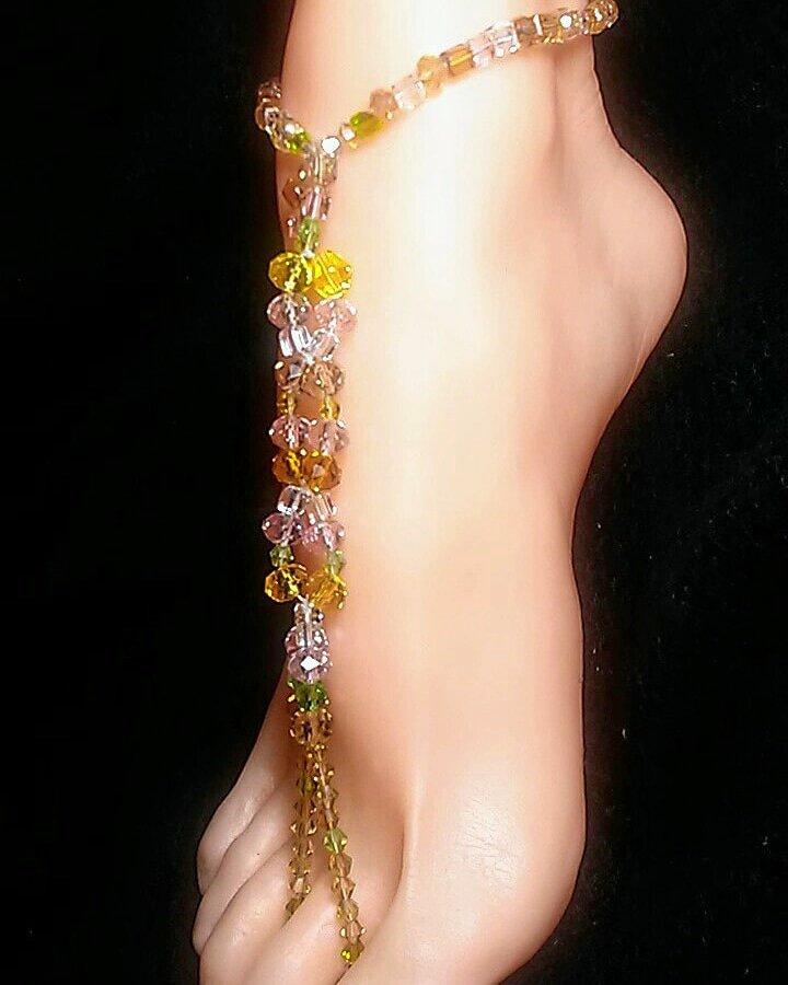 Pink Windfall Barefoot Sandal Toe Ring Anklet