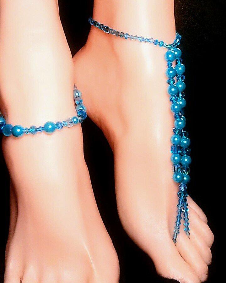 Bird Blue Pearl Barefoot Toe Ring Anklet Set