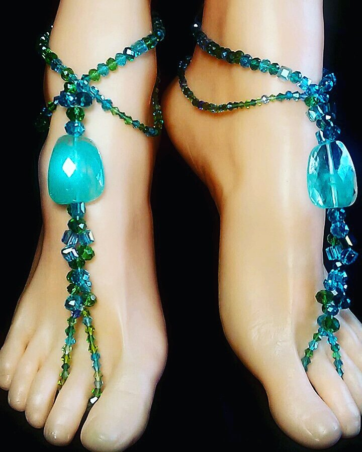 Aqua Breeze Barefoot Sandal Toe Ring Anklet Set