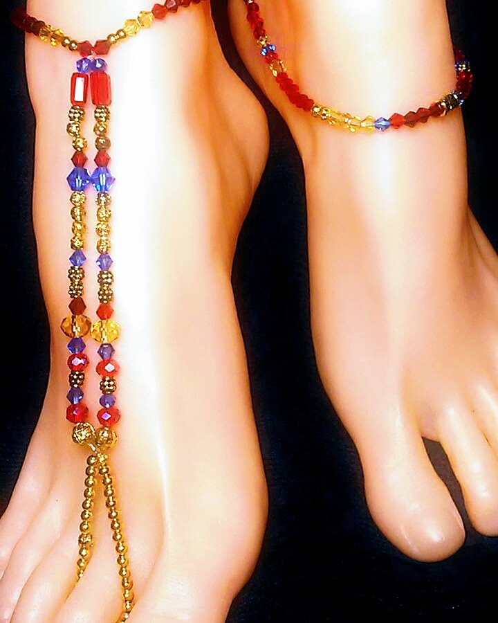 Royal Robin Barefoot Sandal Toe Ring Anklet Set
