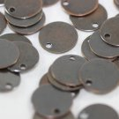 50 Pieces Antique Copper Round Charms,10 mm One Hole Connectors