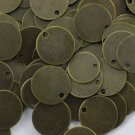 100 Pcs Antique Brass Round Stamping Blanks, 12 mm One small Hole Bronze Coins