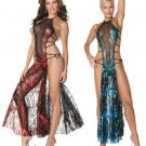 Metallic Flame Strappy Mesh Gown with Built in Panty