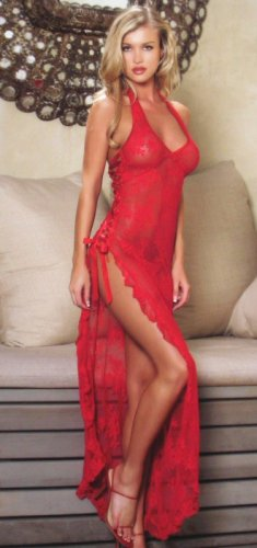 2 Piece Rose Lace Dress with Satin Ribbon & G-String Set