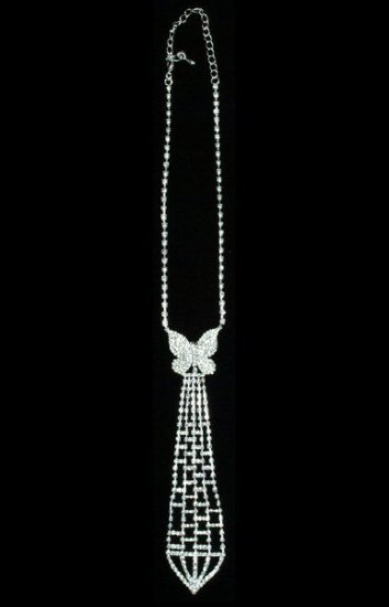 Rhinestone Tie Necklace with Criss Cross Stripe Design