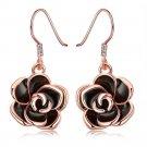 18K Rose Gold Plated Flower Drop Earring