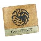 Leather Purse Men Custom Engraved game of thrones fire and blood targaryen Retro Short Wallet