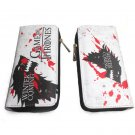 Game Of Thrones House Stark Wolf Logo Long Wallet Zipper Coins Money Cards Holder Layers Purse
