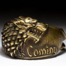 House Stark Direwolf Ring, Winter Is Coming, Game of Thrones, brass, handmade